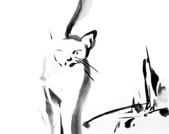 Cat Minimalist Print, Cat Painting Art Print, Modern Black and White Home Decor, Cat Wall Art
