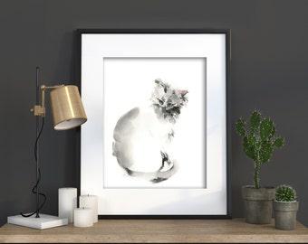 Cat Watercolor Print, Cat Painting, Cat Watercolor, Cat Wall Art