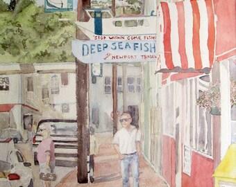 Newport Oregon Bay front Watercolor Painting Street Scene Coastal Watercolor Buildings