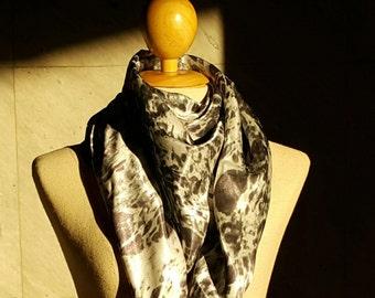 Free Shipping / Silk Satin Scarf / Digitally Printed Scarf / Granite Stone Printed Scarf / Grey / Minimal / Unique Design / Gift