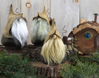 LORE the Quirky Nordic Gnome, Scandinavian Gnome, Wizard, Forest Gnome, Gnome Homes, Wool Felt Gnomes by The Gnomes Makers