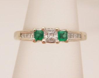 0.50 Carat T.G.W. Princess Cut Diamond & Emerald Ring 14K