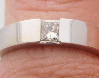 0.18 Carat Princess Cut Diamond Solitaire Ring 14K White Gold