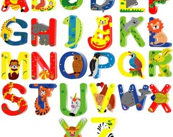 Animal Wooden Alphabet Letters for Children Names on Doors or Walls or Toy Boxes, Personalised Gifts, Name Signs