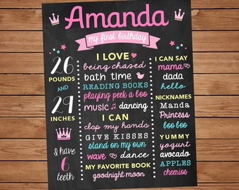 First Birthday Chalk Board for Baby Girl, 1st Birthday Party Multi Color Milestone Sign, 1st Bday, DIGITAL FILE
