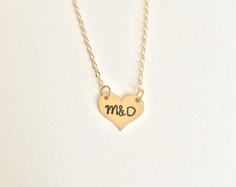 Tiny Gold-Filled Heart Necklace, Heart and Initials Necklace, Gold Heart Necklace, Couples Necklace, Valentines Day necklace