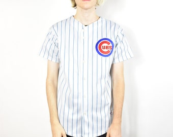 Vintage White and Blue Chicago Cubs Striped Jersey