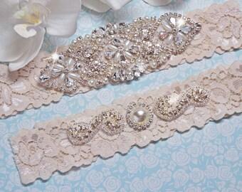 Ivory Bridal Garter Set, Crystal Rhinestone Pearl Keepsake / Toss Garters, White / Ivory Stretch Lace Wedding Garter, FifthAvenueBridal