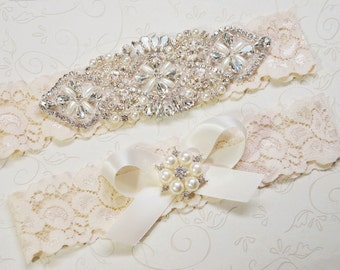 Vintage Bridal Garter, Wedding Garter Set, Toss Garter included Ivory with Crystals and Pearls Custom Wedding colors, Agatha Style 10528