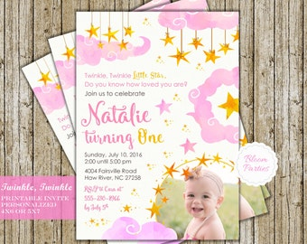 Twinkle Twinkle Little Star Birthday Invitation, Pink and Gold Girl, First Birthday 1st Birthday Invites Digital Printable