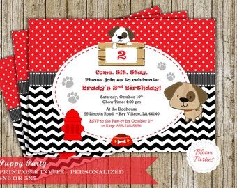 Puppy Party Invitation for Puppy Birthday Party Dog Party Boy or Girl Black Chevron Red Digital Printable Invite