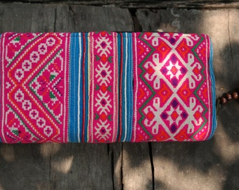 Hmong Wallet, purse, clutch, hmong hill tribe, thai cotton, embroided, ethnic, boho, bohemian, hippie, traditional, thailand, pink, handmade