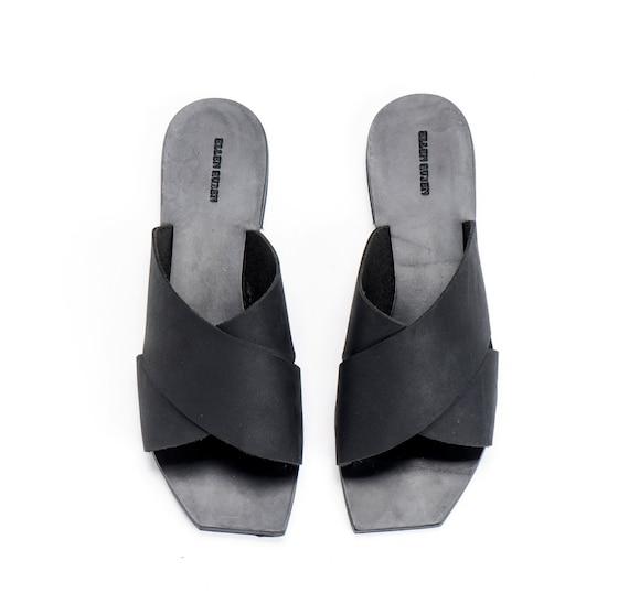 Black Leather Sandals / Women Open Flat Shoes / Slide Sandals / Slip On Shoes / Summer Open Shoes - Peep Toe Designer Sandals - X