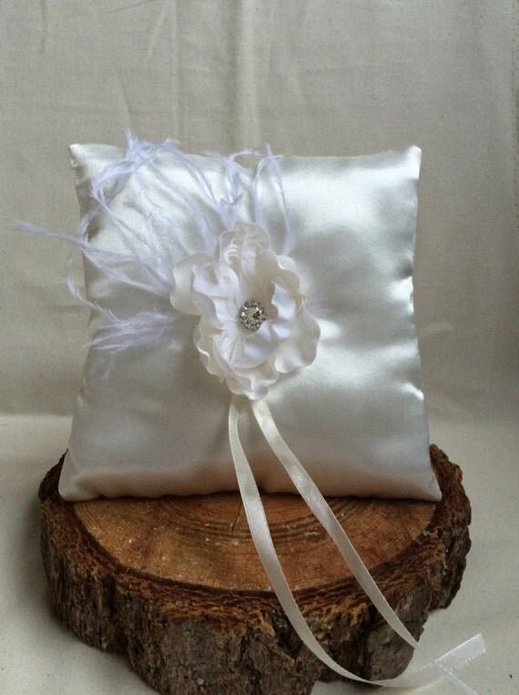 Ring bearer pillow . Cream Satin Ring Bearer Pillow, Feather ring pillow , Flower Wedding, Wedding, Ring Pillow, Ring Bearer Pillow