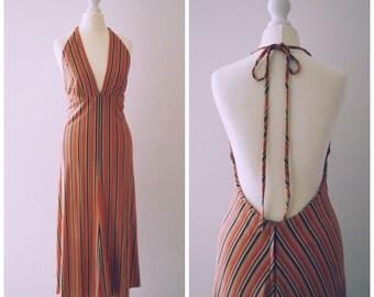 RESERVED Vintage 70s stripe fine knit low PLUNGE front babydoll empire waist orange midi maxi halter dress skirt boho festival