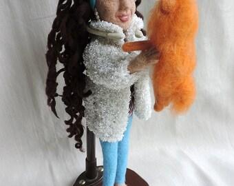 OOAK Needle felted girl, Felt girl sculpture, Felted pomeranian, Wool human, Miniature, Brunette, Felted doll