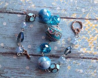 Blue Bracelet, Blue Bracelet, Beaded Bracelet, Beadwork Bracelet, Gift For Her