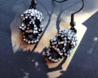 Halloween Jewelry, Halloween Earrings, Metal Skull Earrings, Sugar Skull Earrings