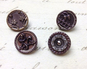 4 Small Antique Metal Buttons 13 mm