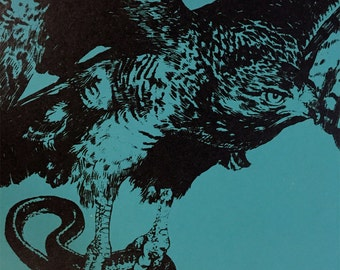 """Red-tailed Hawk with Garter Snake 11x17"""" Two-Color Screen Print"""