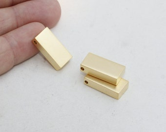 3 Pcs 10x20x5mm 24k Gold Plated Bar , Bar Charms, Bar Necklace , Square Bar, Nameplate Bar, ...
