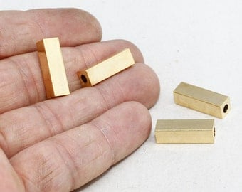 Gold Square Beads, Solid Brass , Square Tubes, Rectangle, Geometric Necklace, BRT170