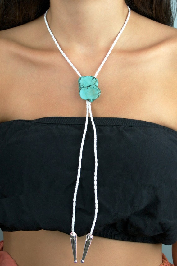 Braided Faux Leather Bolo Tie with Turquoise Stone