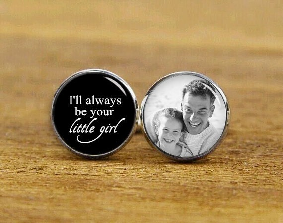 I'll always be your little girl cuff links, custom any wording or photo, wedding cufflinks, wedding gift, personalized cufflinks, men's gift