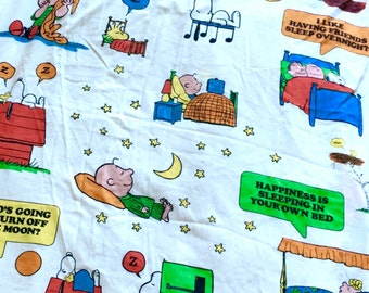 Vintage Peanuts Snoopy Charlie Brown Full Bottom Sheet and Pillow Case