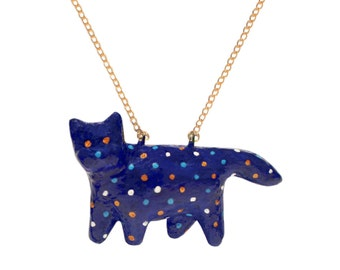 FAT CAT NECKLACE. with Dots, Hand made, resin jewelry, statement necklace, Omg! Jewels
