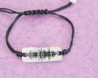 Engraved Soundwave Bar Bracelet - Sound Clip - Father's Day - Anniversary - Engraved Jewelry - Soundwave Jewelry - Engraved Bracelet