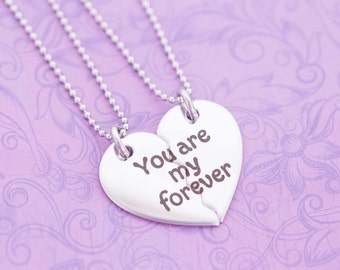 Broken Heart BFF or Couple's Pendant Set - Engraved Jewelry - Custom Engraving - You Are My Forever - Couple's Jewelry - Broken Heart