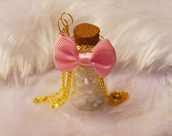 Pink ribbon bottle necklace