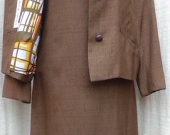 Vintage 1970s BARON PETERS Fully Lined Raw Silk Dress/Jacket Set
