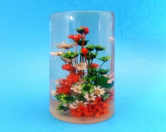 Mid Century Lucite Paperweight, Bouquet of Flowers with Butterfly