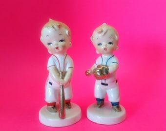 Vintage Baseball Boys Ceramic Figurine