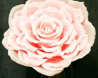 Huge Pink Crepe Paper Rose 15 inches of diameter, Pink Rose Diameter 40 cm, Large Paper Flower, Huge Crepe Paper Rose