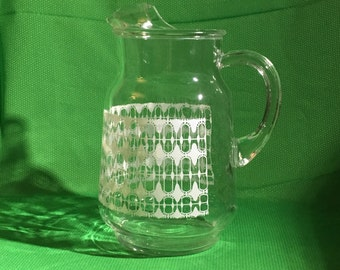 Vintage Pitcher | Clear Glass | White Pattern