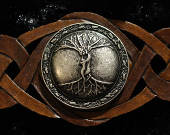 """Leather Tree of Life Druid wristband. """"We Entwined"""" 925 antique silver plated emblem. Snap closure with custom sizing available!"""