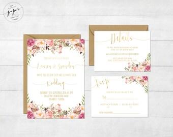Floral Wedding Invitation Printable Wedding Invitation Suite Rustic Wedding Invite Boho Wedding Invite Peonies Wedding Invite Boho Gold Set
