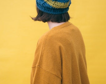 Slouchy handknitted bobble hat