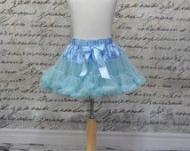 Baby Girl Tutu Pettiskirt in Sky Blue. Cinderella Pettiskirt. Ready to Ship.