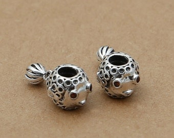 Sterling Silver Fish Bead For European Bracelet, Large Hole Fish Bead, 4mm Hole Fish Bead For European Bracelet, Sterling Fish Bead - E347
