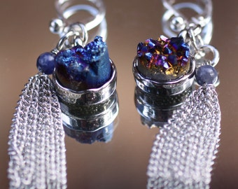 Sterling Silver Blue Dichroic Druzy Leverback Earrings with Silvertone Tassel Dangles, 2 1/4 inches long