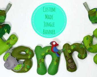 Jungle Name Banner - Jungle Animal theme - Nursery Wall Art - Gift for Baby - Nursery Wall Hanging - Jungle Animal Nursery - Animal Bunting