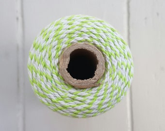 100mt roll 12ply LIME/WHITE Bakers Twine 100% cotton
