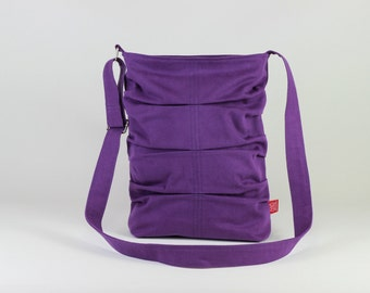 Lilac Wrinkled Pleated Small Canvas Tote Bag Crossbody and Shoulder Use Washable Zipper Closured Small Tote Bag DIFFERENT COLOR AVAILABLE