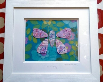 Lilac-Butterfly-Framed-Textile Art-Hand Embroidered-Vintage fabric-Vintage 1970's Wallpaper.