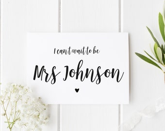 I Can't Wait To Be Mrs, Personalised Groom Wedding Card, Can't Wait To Marry You, Pretty Groom Wedding Card, Wedding Day Card, Mrs To Be