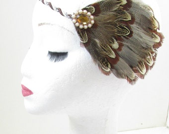 Brown Ivory Pheasant Feather Fascinator Headband 1920s Flapper Vtg Headpiece V23